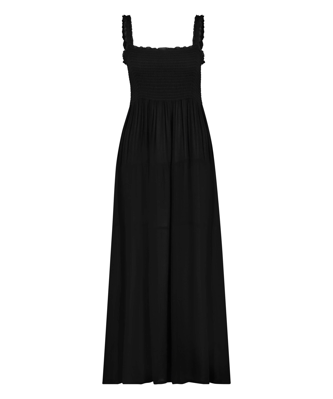 Maxi jurk Smocked, Zwart, main
