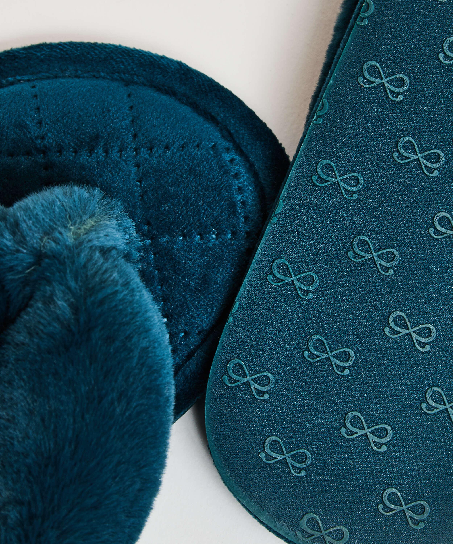 Slippers Velours fur, Groen, main
