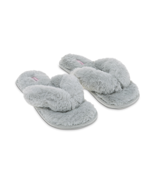 Slippers Fake Fur, Grijs, main