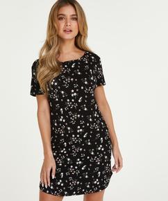 Chemise de nuit à col rond Flower, Noir