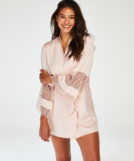 Kimono satin lace, Roze