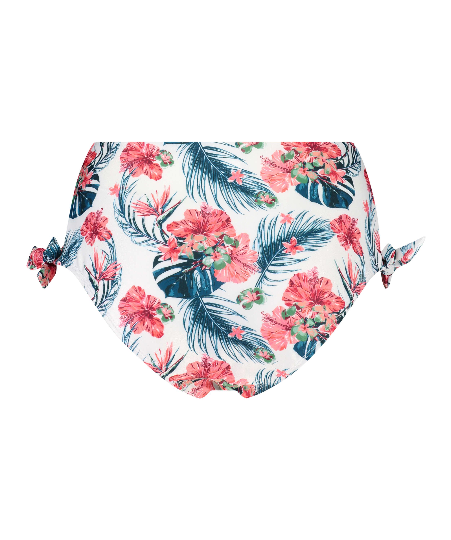Bas de bikini échancré taille haute Vintage, Blanc, main