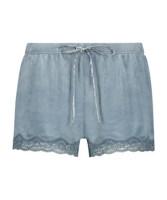 Shorts Velours Lace, Blauw