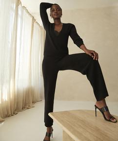Premium Pantalons Longs Knit, Noir