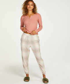 Petite Pyjamabroek Twill Check, Grijs