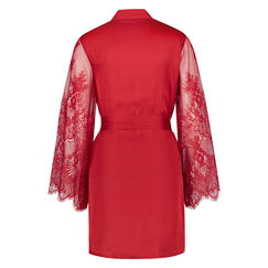 Kimono en dentelle satinée, Rouge