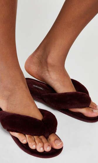 Slippers Velours fur, Rood