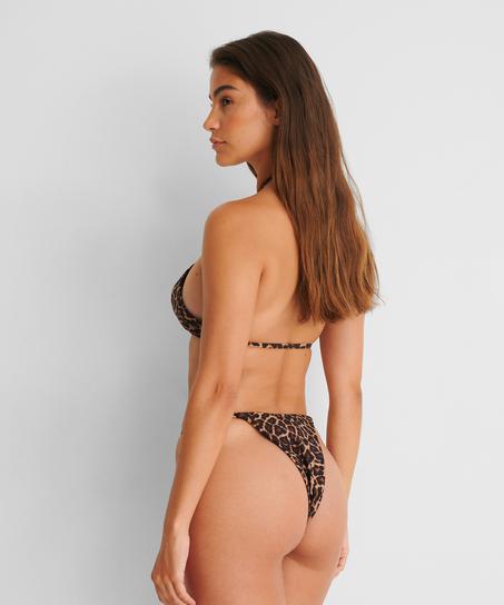Hoog uitgesneden string bikinibroekje Animal HKM x NA-KD, Bruin