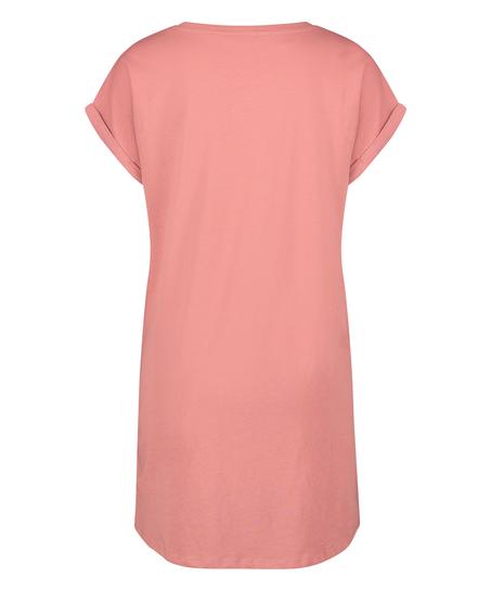 Chemise de nuit à encolure arrondie, Rose