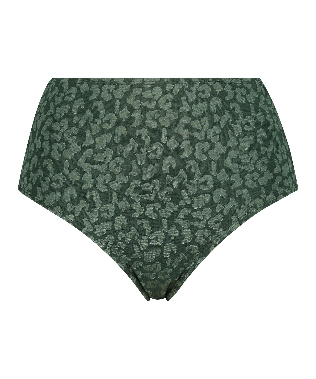 Short de bikini taille haute Tonal Leo, Vert, main