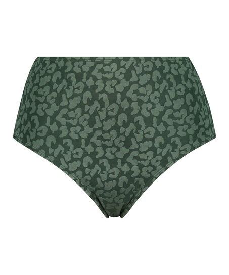 Short de bikini taille haute Tonal Leo, Vert