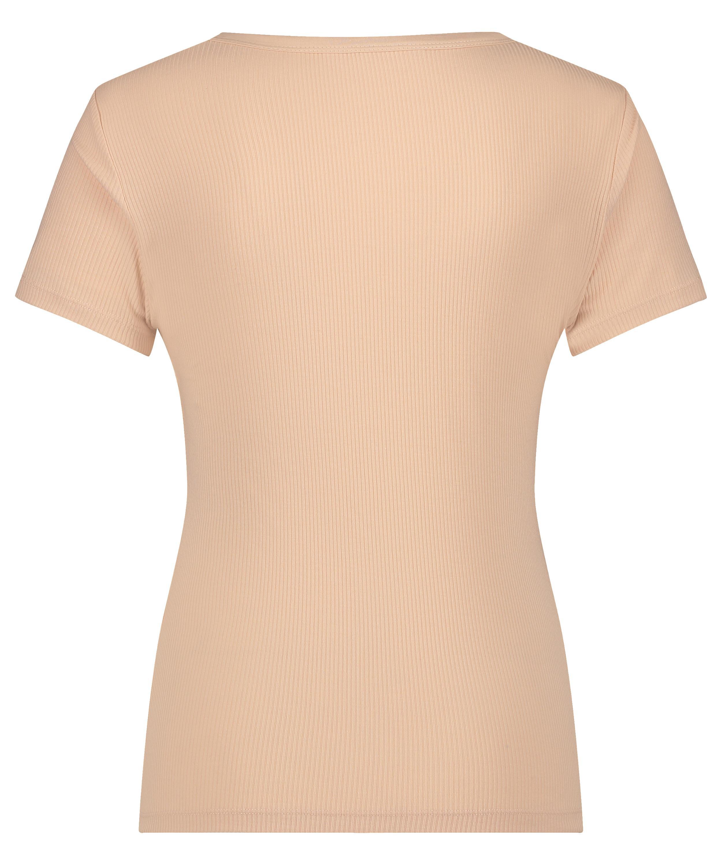 Haut de pyjama manches courtes rib crew neck, Beige, main