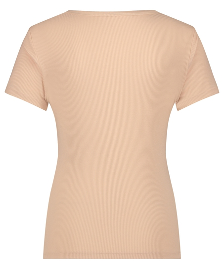 Haut de pyjama manches courtes rib crew neck, Beige