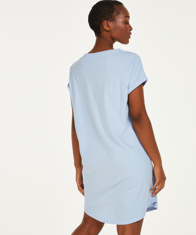 Chemise de nuit à encolure arrondie, Bleu, main