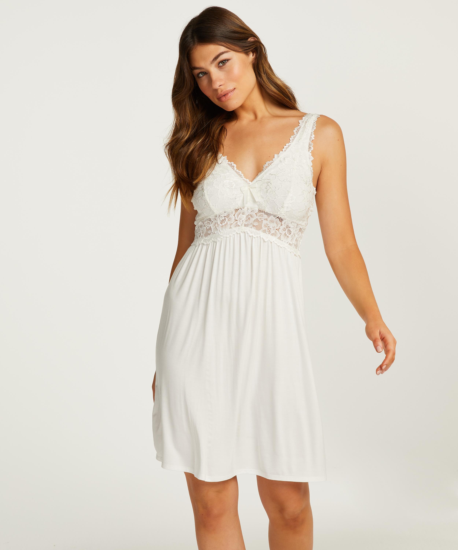 Nuisette Modal Lace, Blanc, main