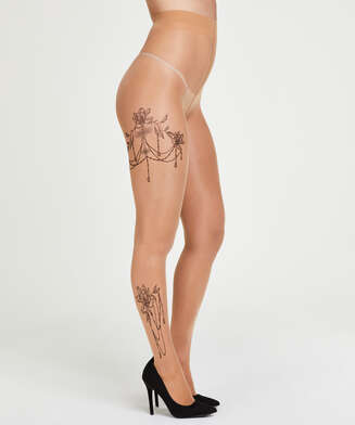 Panty 15 Denier Leg Tattoos, Beige