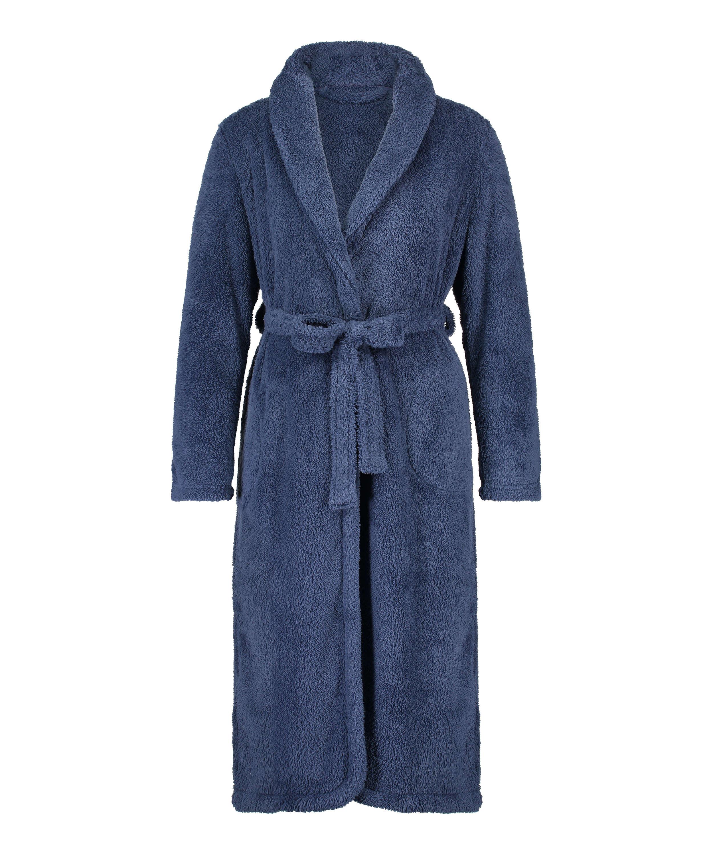 Lange badjas Fleece, Blauw, main