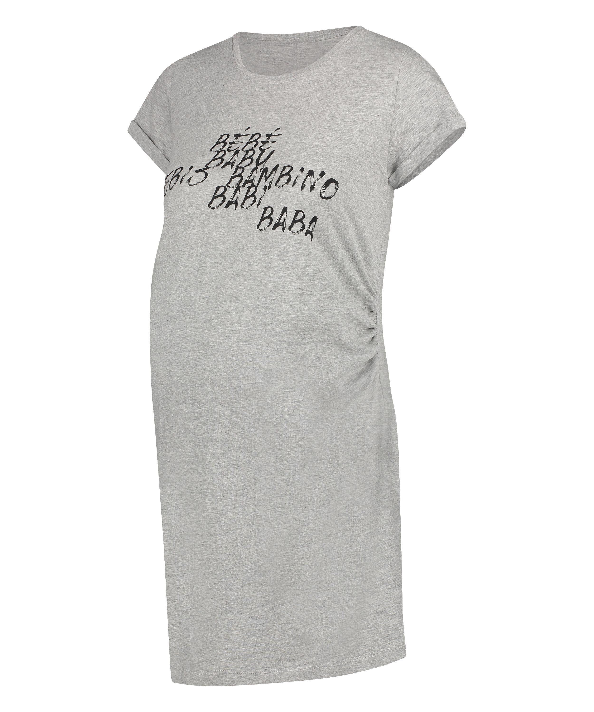 T-shirt de nuit grossesse à manches courtes, Gris, main