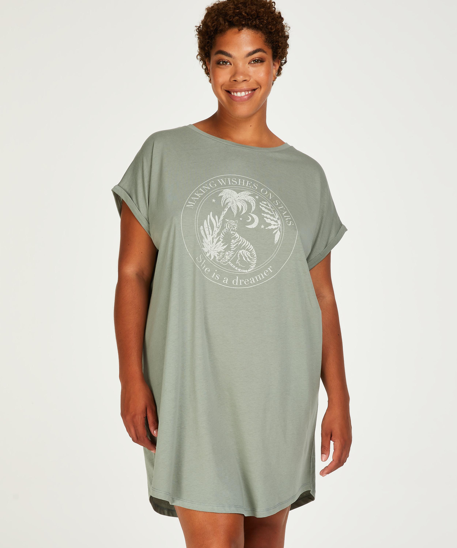 Chemise de nuit col rond, Vert, main