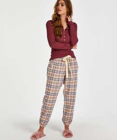 Haut de pyjama à manches longues, Rouge