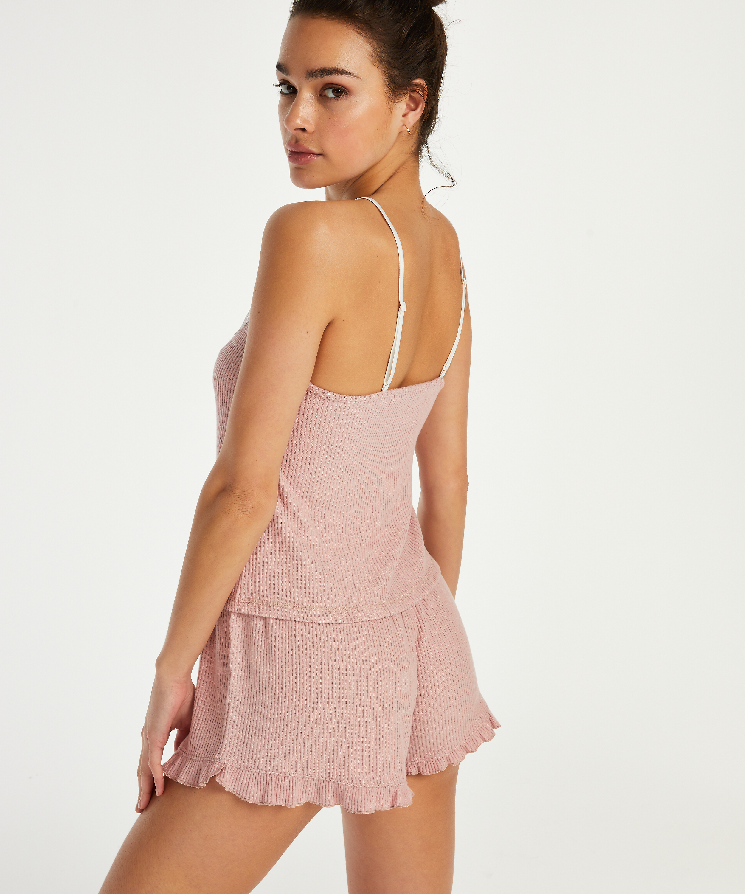 Cami top Brushed Rib Lace, Roze, main