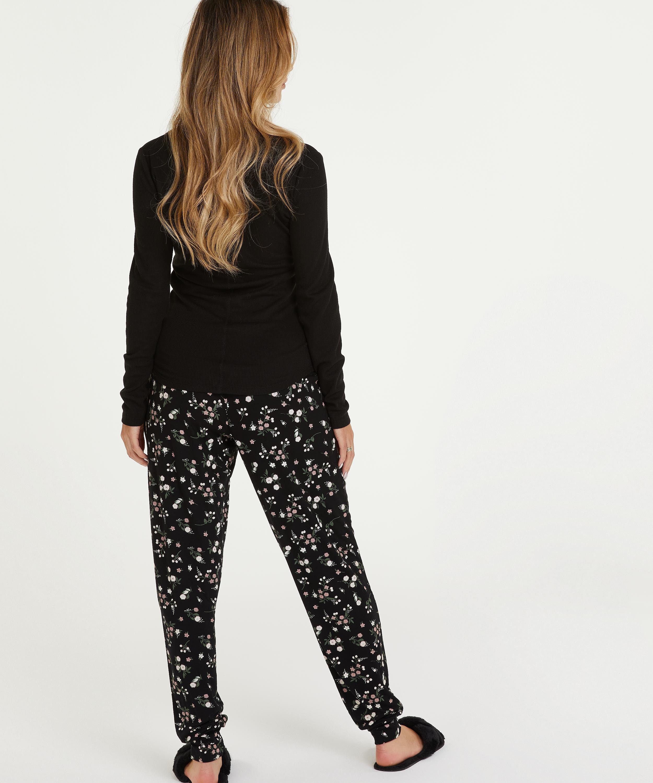 Pyjamatop lange mouwen, Zwart, main