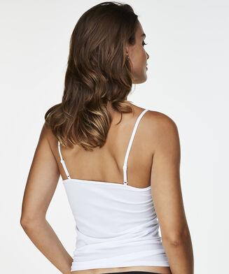 Haut sans coutures à fines bretelles, Blanc