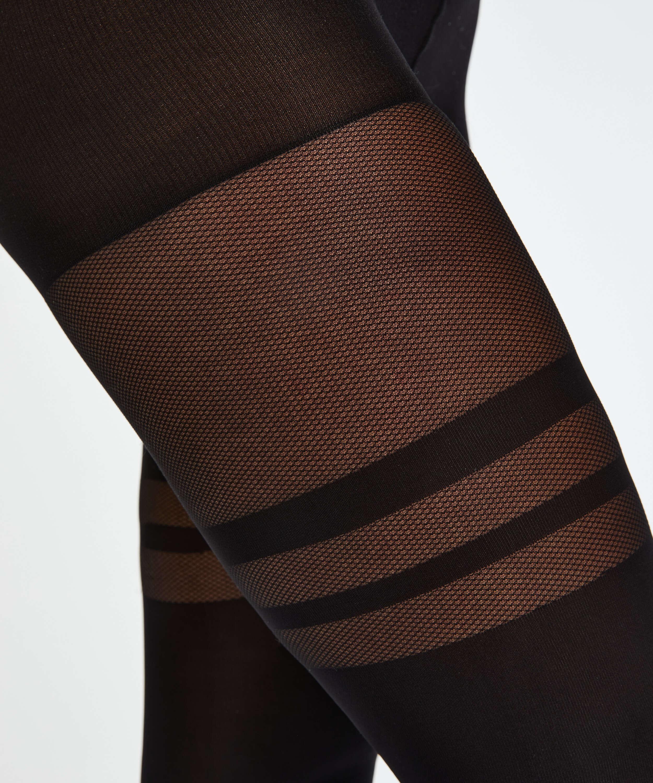Panty Fishnet Overknee, Zwart, main