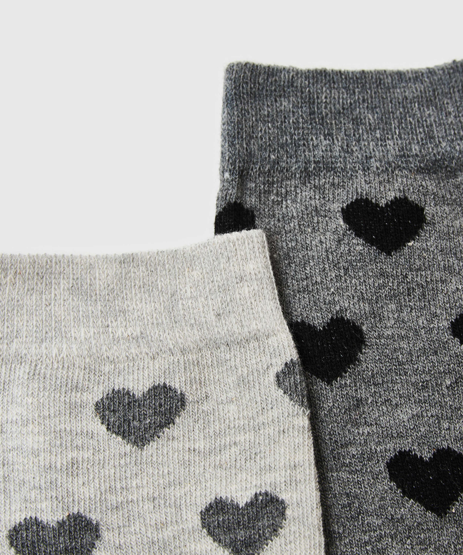 2 Paires de Chaussettes en Coton, Gris, main
