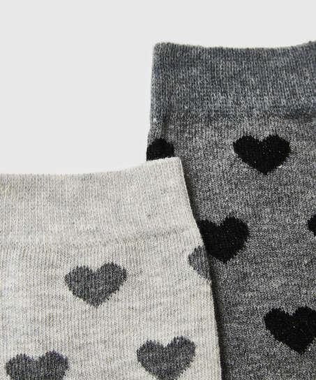 2 Paires de Chaussettes en Coton, Gris