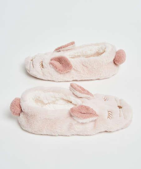Pantoffels ballerina Konijn, Beige