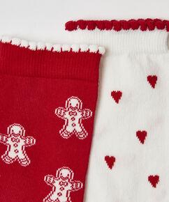 2 Paires de Chaussettes en Coton, Rouge