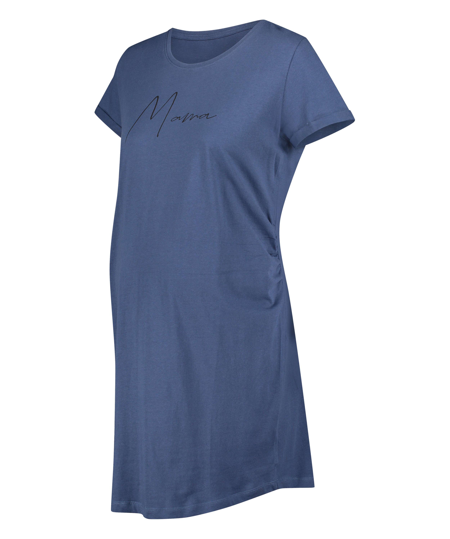 Zwangerschapsnachthemd met korte mouwen, Blauw, main