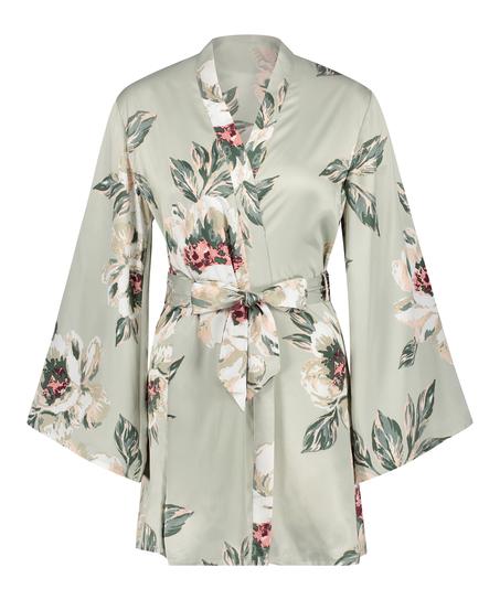Kimono satin print, Blauw