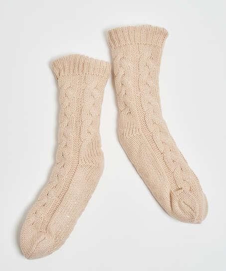 Chaussettes tricotées, Blanc
