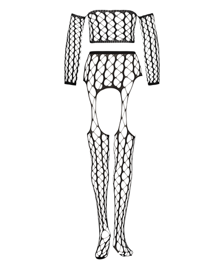 Private fishnet set Graphic, Zwart
