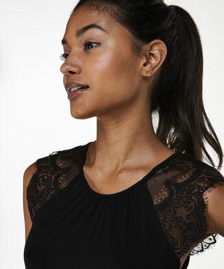 Singlet Lace Jersey, Zwart