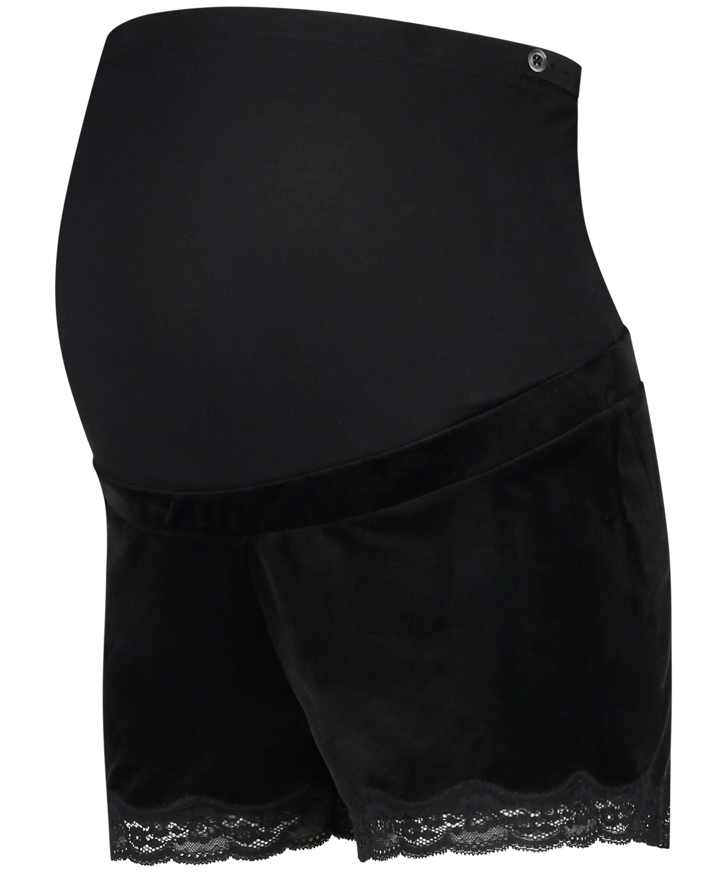 Zwangerschapsshort Velours, Zwart, main