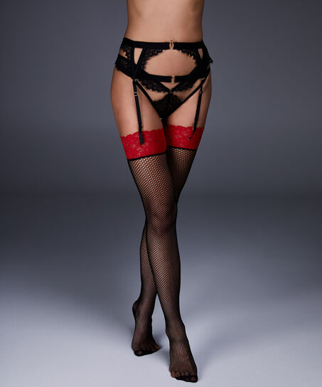 Bas Private Red Top Fishnet, Rouge