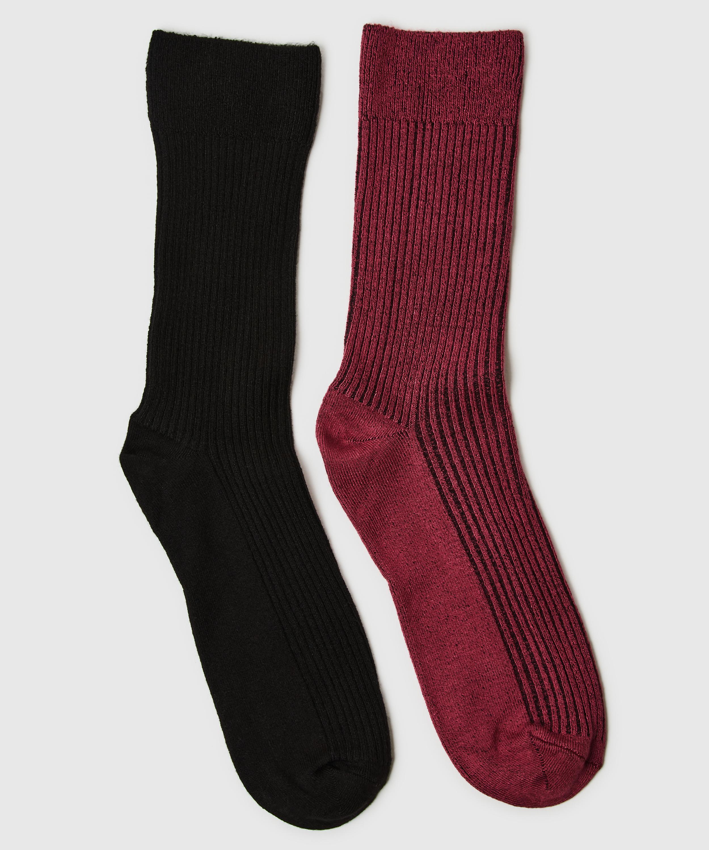 2 paires de chaussettes Rib Soft Touch, Rouge, main