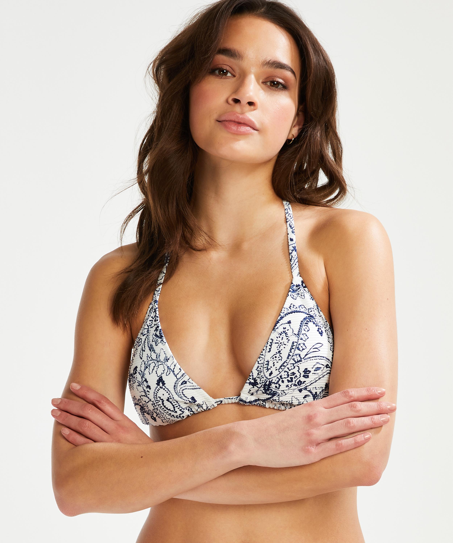Haut de bikini triangle Paisley, Blanc, main