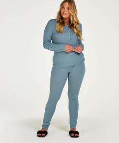 Pyjama Waffle Placket, Bleu