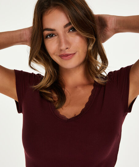 Top Rib V-Neck, Rouge