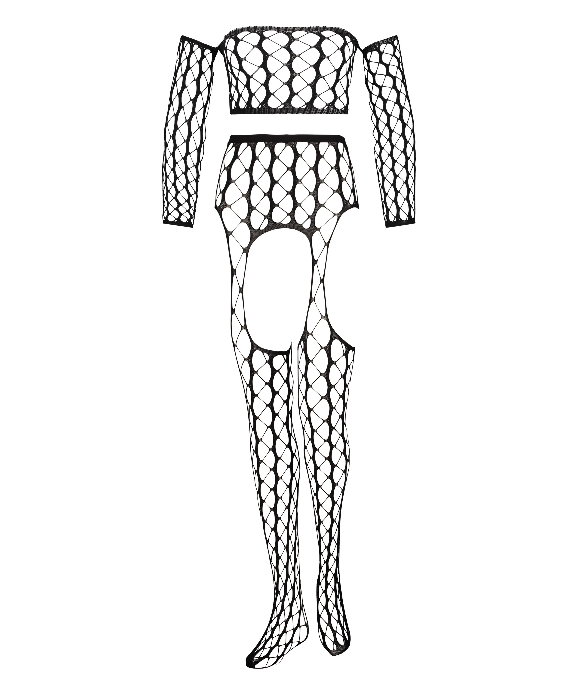 Private fishnet set Graphic, Zwart, main