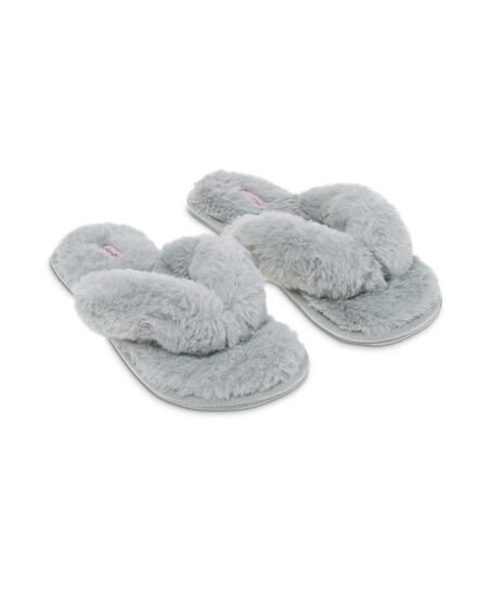Slippers Fake Fur, Grijs