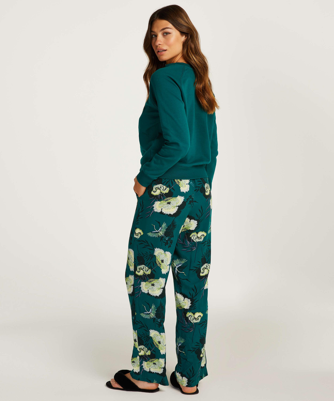 Pantalon de pyjama tissé, Gris, main