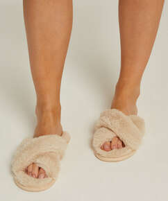 Pantoufles Fake Fur, Beige