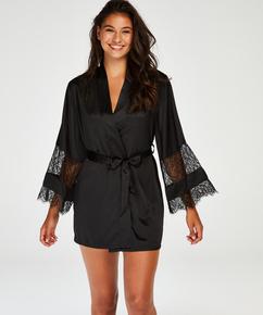 Kimono satin lace, Zwart