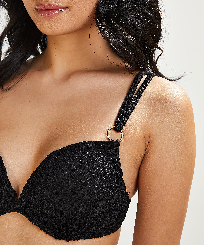 Voorgevormde push-up beugel bikinitop Crochet Cup A - E, Zwart, main