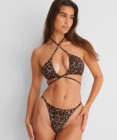 Bas de bikini string échancré Animal HKM x NA-KD, Brun